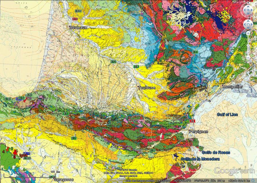 Localisation sur fond de carte géologique des 4 sites de la route des dinosaures (la Rioja) et de la ville d'Igea où se trouve un musée de paléontologie