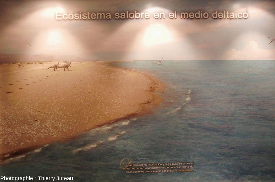 Un panneau du musée d'Igea montrant l'environnement paléogéographique de La Rioja au Crétacé inférieur et deux théropodes laissant leurs empreintes