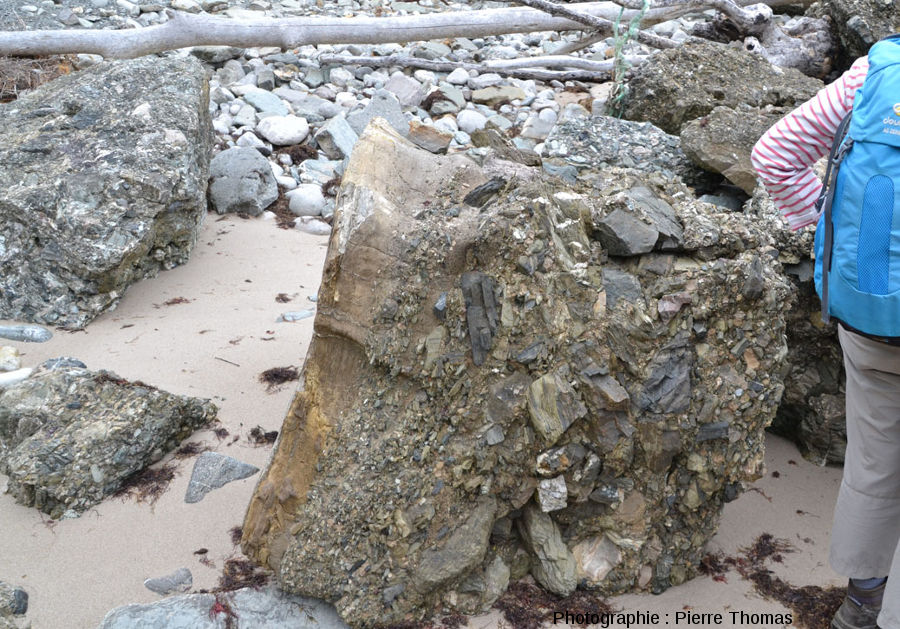 Vue d'ensemble sur un fragment (non en place) de cette méga-turbidite et de ces blocs anguleux et varié