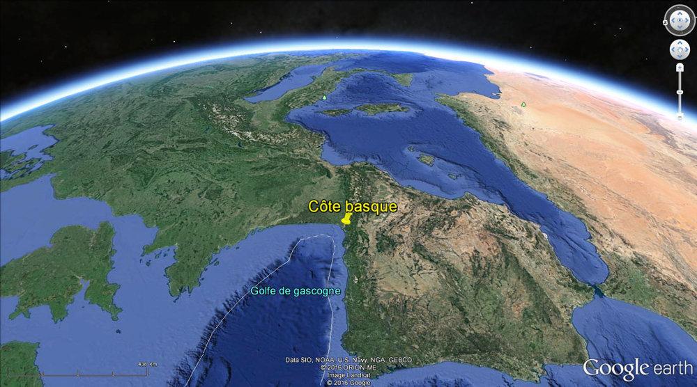 Localisation de la côte basque et du Golfe de Gascogne actuel