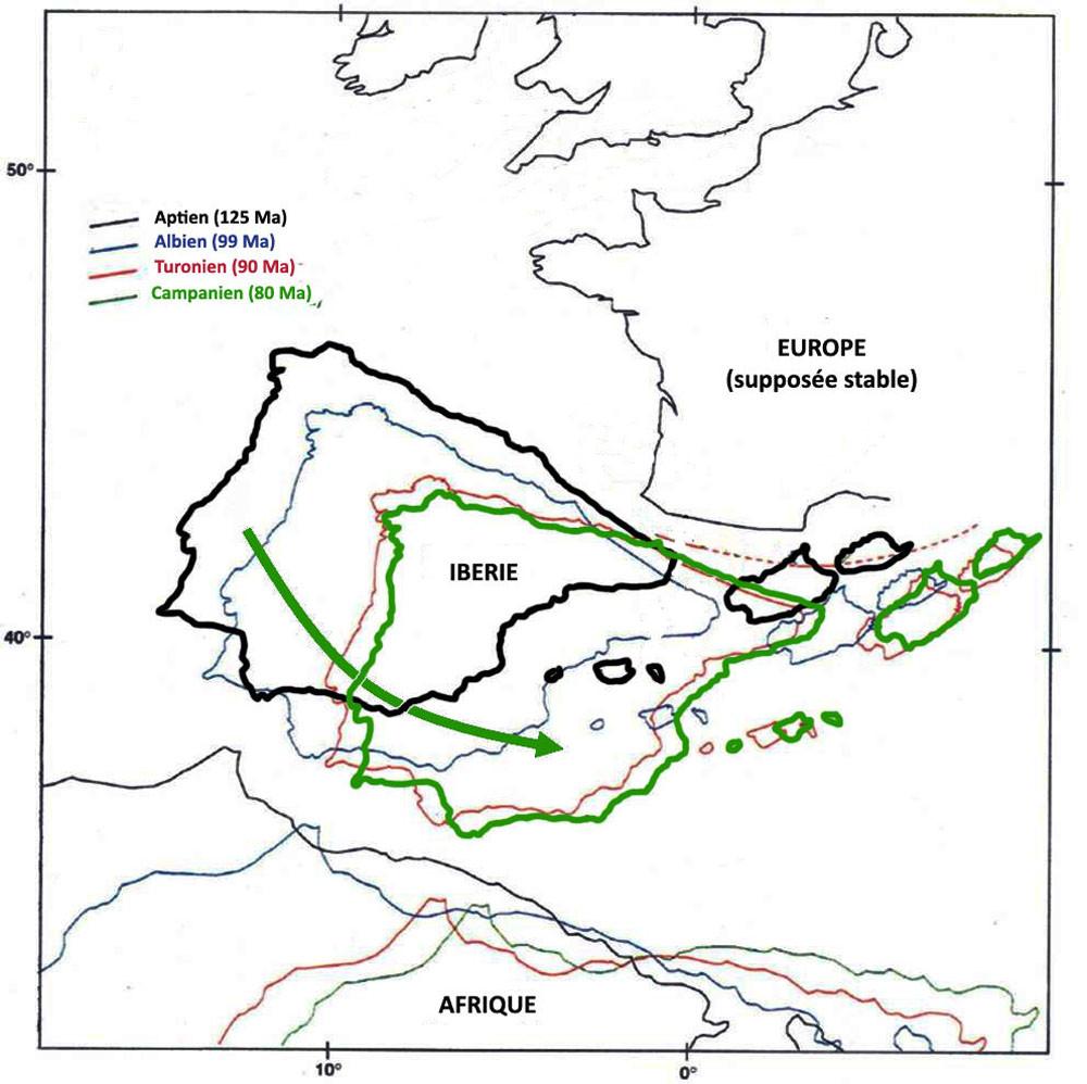 """Reconstitution """"classique"""" du mouvement de l'Ibérie par rapport à l'Europe (supposée stable) entre l'Aptien (125Ma) et le Campanien (80Ma)"""