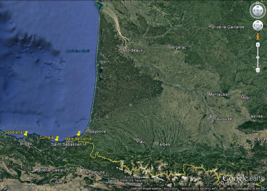 Localisation des 3 sites décrits, Loya (Lohia), Zumaia et Sopelana