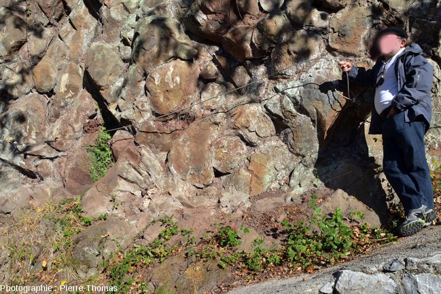 Zoom sur le premier affleurement à pillow-lavas près de Soraluze, synclinal de Bilbao (Pays Basque espagnol)