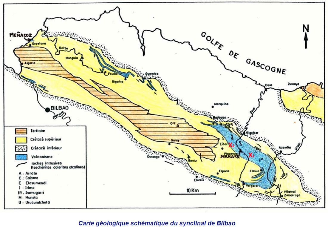 Carte géologique simplifiée du synclinal de Bilbao