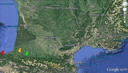 Localisation des affleurements du synclinal de Bilbao (punaise rouge), ainsi que des deux affleurements français de Saint-Palais (punaise orange) et d'Oloron-Sainte Marie (punaise verte)