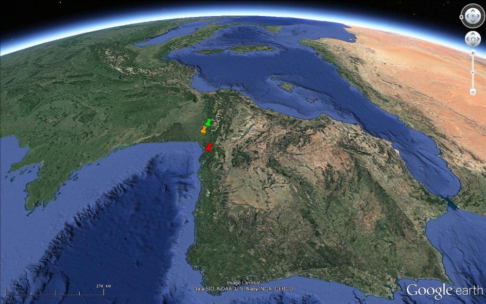 Vue satellite du Golfe de Gascogne actuel
