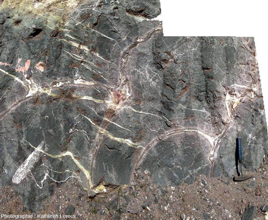 Zoom sur le centre de l'affleurement à pillow-lavas d'Eibar, en avril 2013