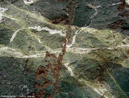 Zoom sur un autre secteur riche en fractures remplies de calcite (blanche) et d'épidote (verte)