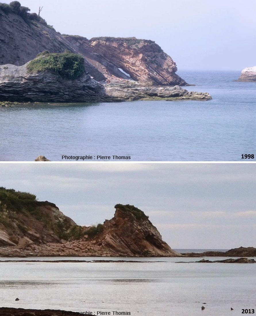 Évolution du versant NO de la baie de Loya et de sa limite K-T entre 1998 et 2013