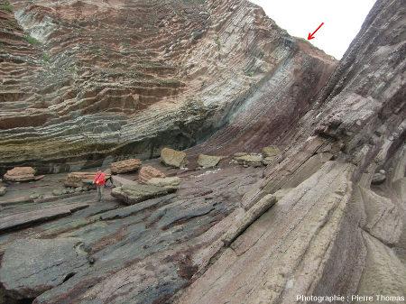 Vue générale sur la limite K-T (flèche rouge) depuis le haut de la falaise, Zumaia, Pays Basque espagnol