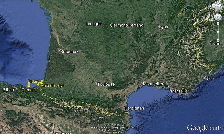 Localisation des sites de Bidart, de la Baie de Loya et de Zumaia