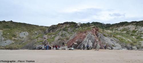 Affleurement de Trias versicolore sur la plage de Bidart, Pyrénées Atlantiques