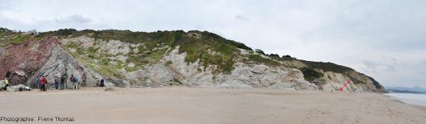 Vue globale de la plage de Bidart montrant l'affleurement de Trias (à gauche) et la position de la limite K-T indiquée par une flèche rouge