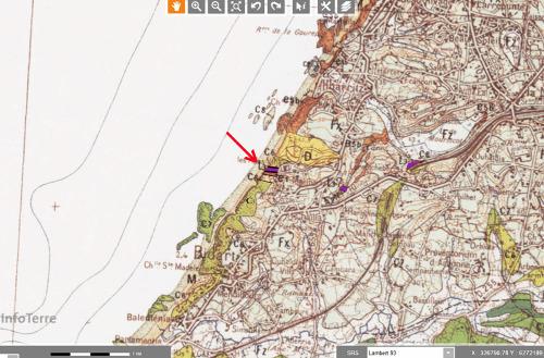 Agrandissement de la carte géologique de Bayonne au 1/50000
