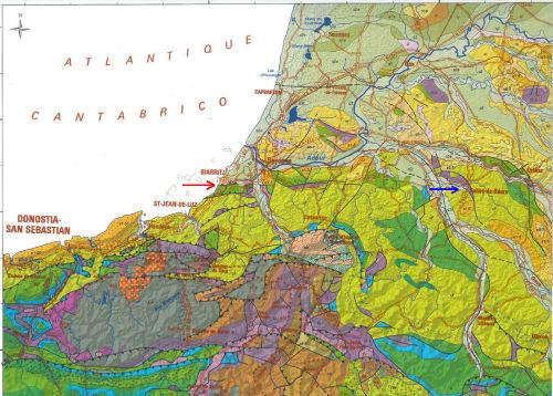 Agrandissement d'un secteur de la carte géologique des Pyrénées au 1/400000 montrant le chevauchement Paléocène (jaune) sur Crétacé supérieur (vert)