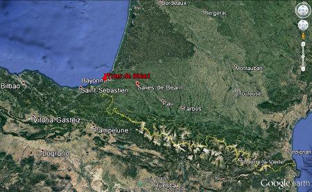 Localisation de l'affleurement de Bidart et de Salies-de-Béarn au Nord-Ouest des Pyrénées