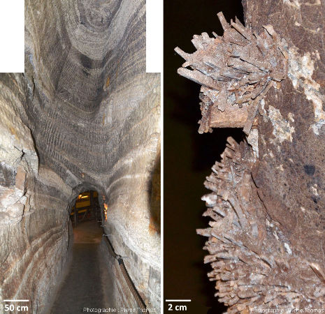Galerie d'exploitation et néo-cristallisations de gypse, mines de Bex (canton de Vaud, Suisse)