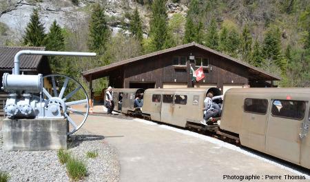 Gare d'embarquement des touristes, mines de Bex (canton de Vaud, Suisse)