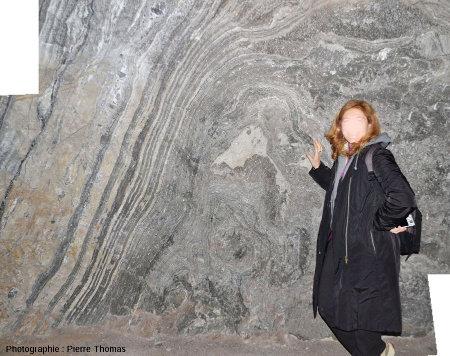 Paroi d'une salle d'où a été extraite la brèche salifère et laissant voir les couches d'anhydrite très inclinées