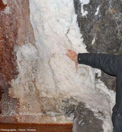 Concrétion de sel et tapis bactérien au débouché d'ouvrages hydrauliques laissant suinter un peu d'eau