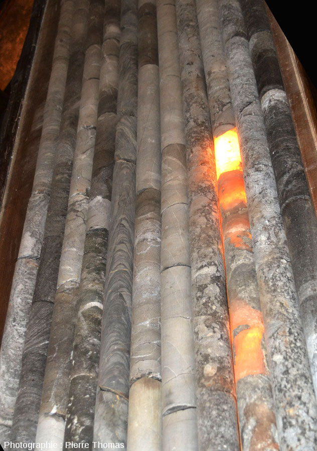 Détail d'une partie des 11 carottes de la figure précédente, mines de Bex (canton de Vaud, Suisse)