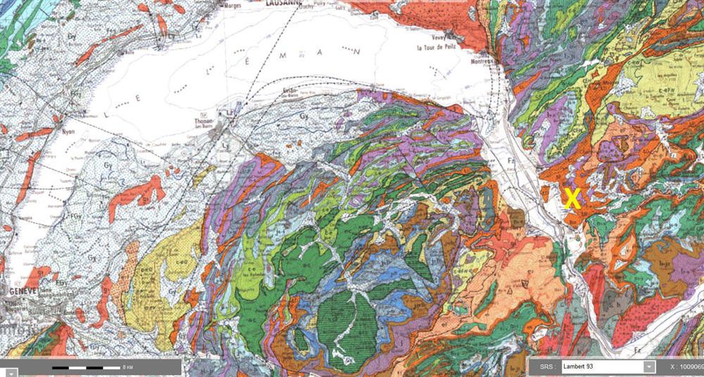 Localisation des mines de Bex (croix jaune) sur fond de carte géologique BRGM 1/250000 d'Annecy