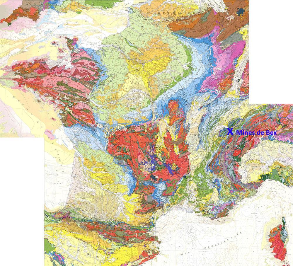 Localisation des mines de Bex dans les Alpes sur fond de carte géologique de la France