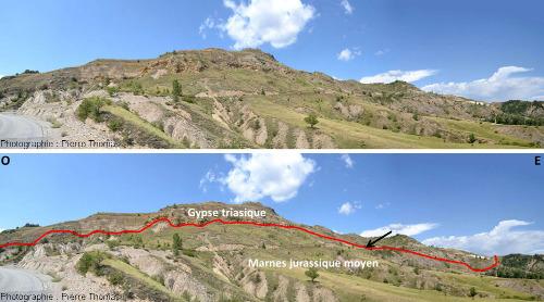 Vues d'ensemble, brute et interprétée, du flanc Sud du diapir de Lazer (Hautes Alpes)