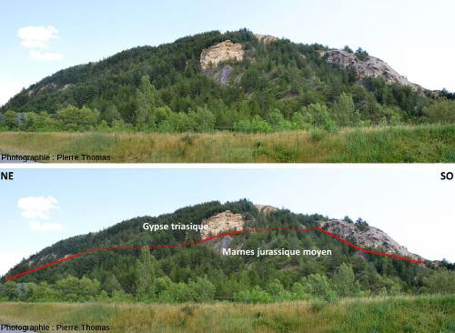 Vues d'ensemble, brute et interprétée, du flanc Est du diapir de Lazer (Hautes Alpes)