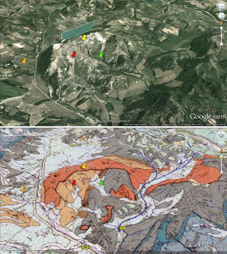 Vues aériennes en relief, brute et avec projection de la carte géologique, du diapir de Lazer (Hautes Alpes)