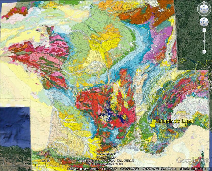 Localisation du diapir de Lazer sur la carte géologique de France au 1/1000000