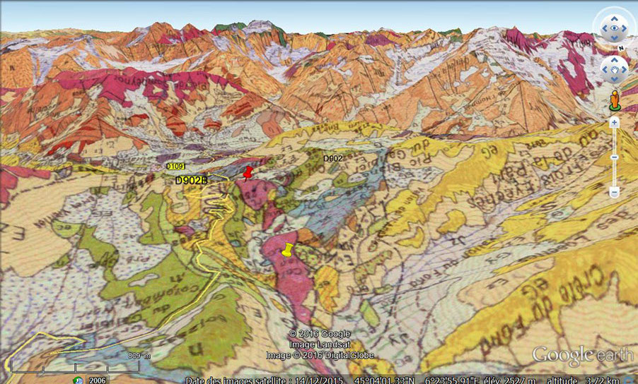 Vue en carte géologique du flanc Nord du Col du Galibier (Savoie)