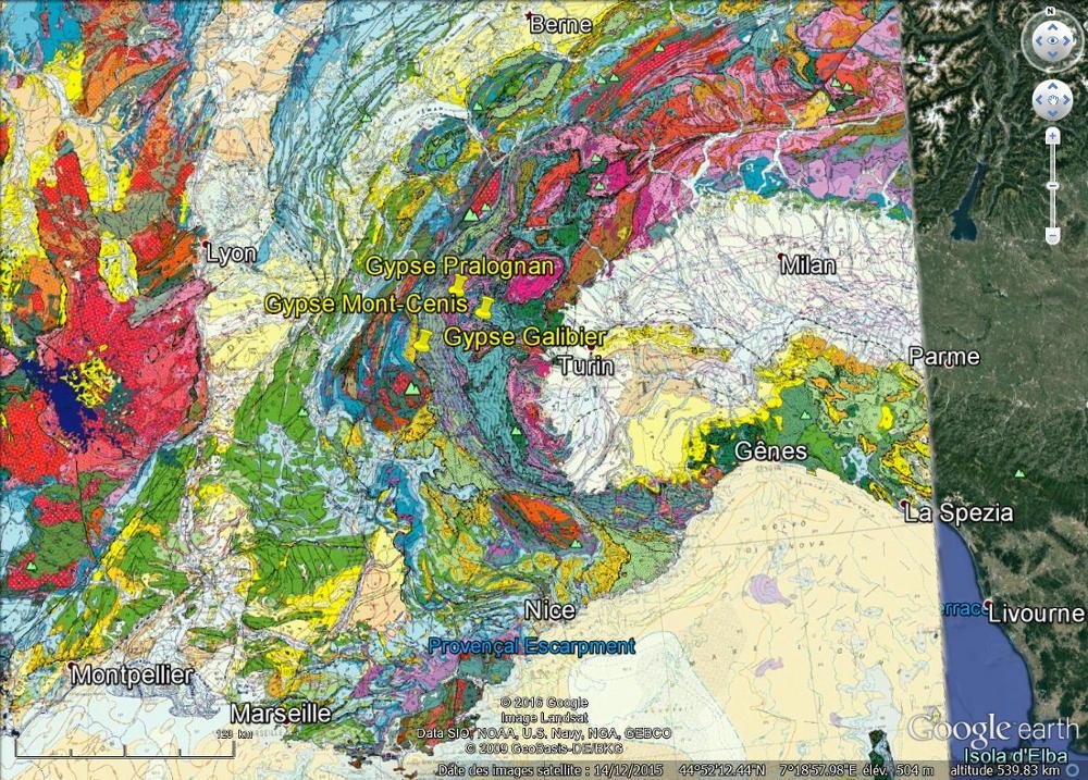 Localisation des trois affleurements alpins de gypse montrant de beaux entonnoirs de dissolution sur fond de carte géologique de la France au 1/1000000