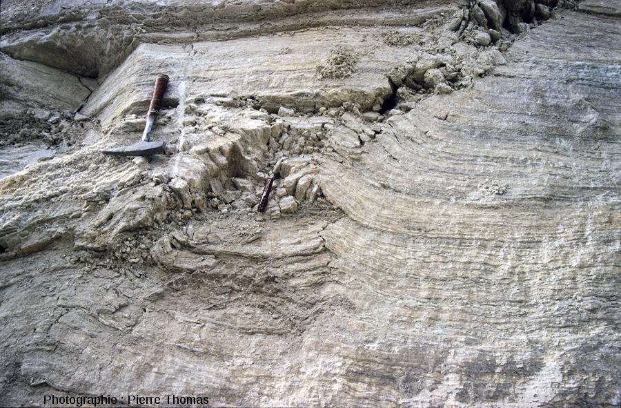 Le même pli-faille inverse affectant des couches de gypse... 41 ans plus tôt