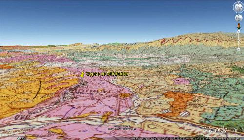 Vue sur fond de carte géologique des environs de l'affleurement où ont été prises les photos présentées ci-dessus
