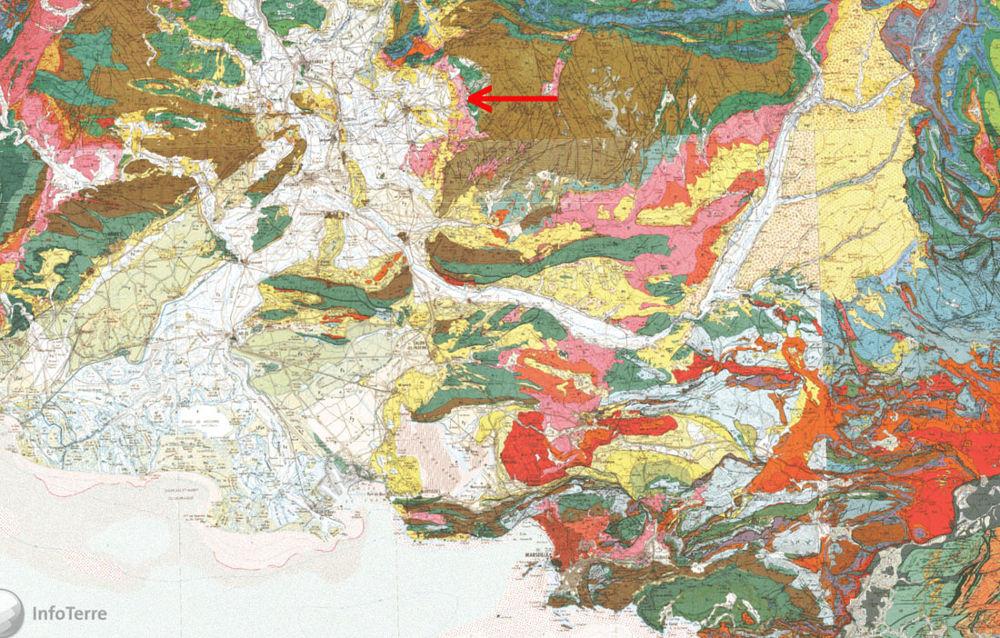 Carte géologique régionale au 1/250000 montrant la localisation de Mormoiron, Vaucluse