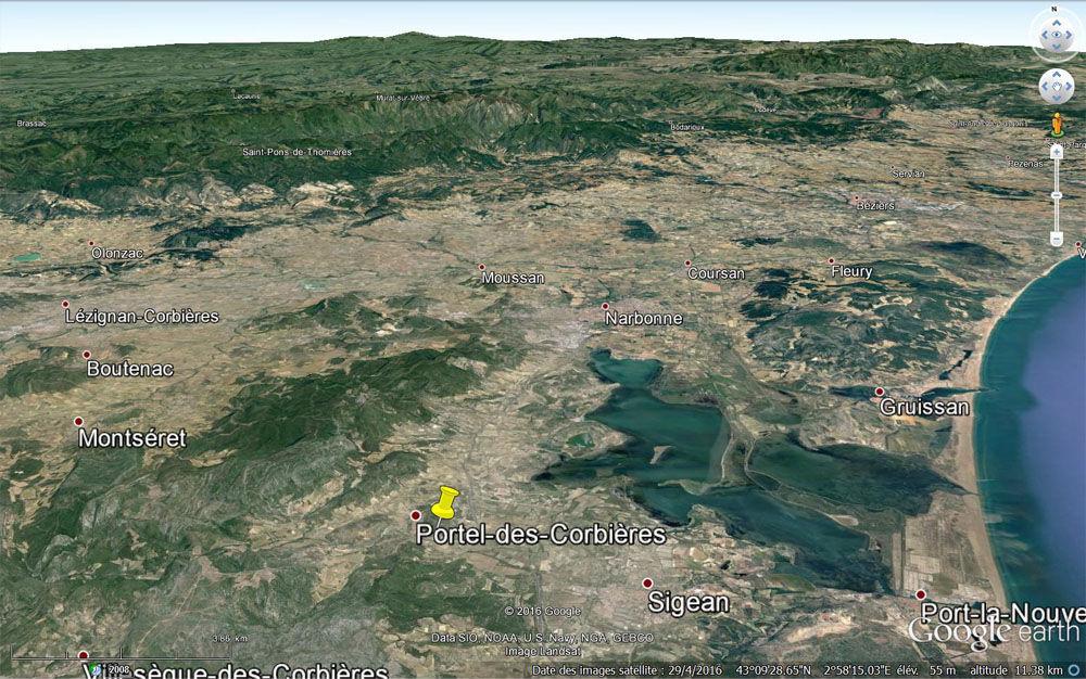 Vue aérienne du secteur de Portel-des-Corbières (punaise jaune)