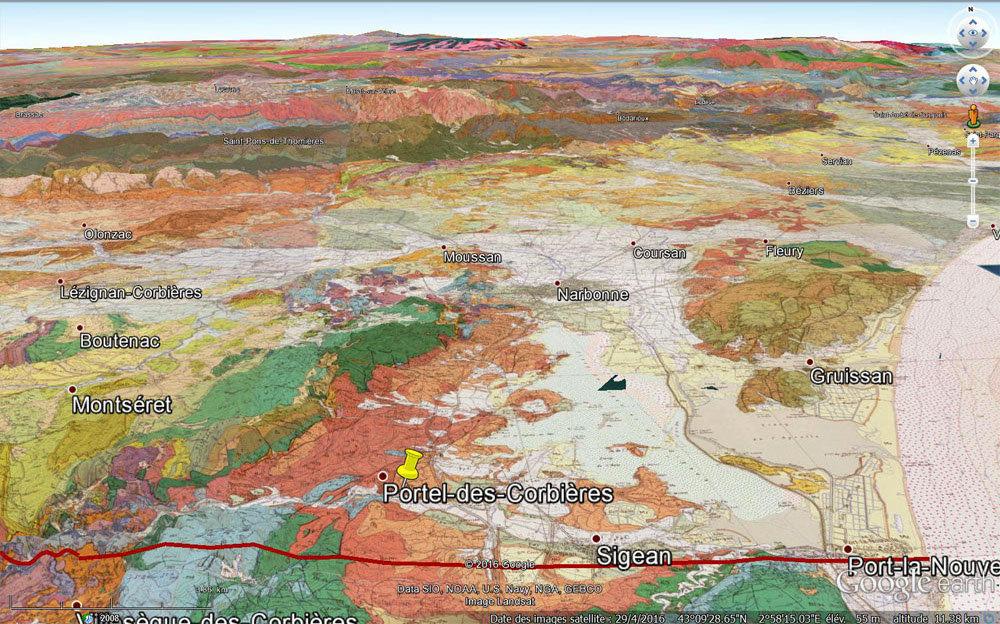 Carte géologique 3D du secteur de Portel-des-Corbières (punaise jaune)