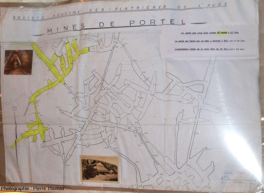 Carte montrant une partie de l'extension horizontale des galeries, Terra-Vinéa, Portel-des-Corbières (Aude)