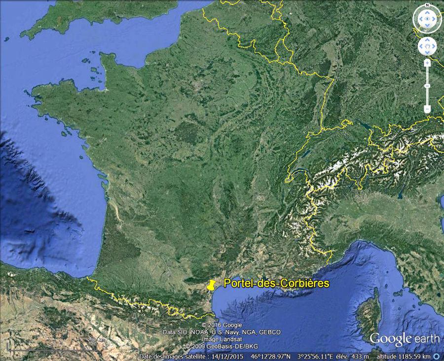 Localisation, en France, de Portel-des Corbières (Aude)