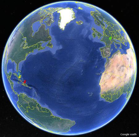 Localisation des forêts cubaines (punaise jaune), françaises (punaise verte) et haïtiennes / dominicaines (punaise rouge) ayant illustré cet article