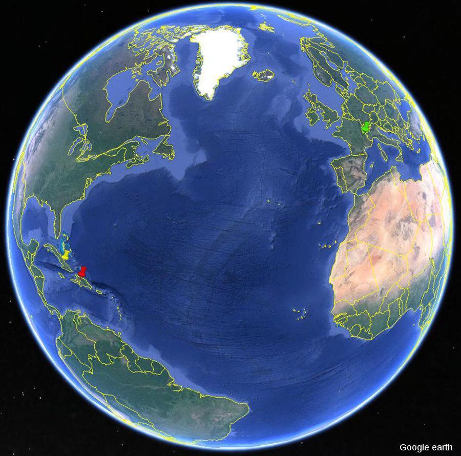 Localisation des forêts cubaines (punaise jaune), françaises (punaise verte) et haïtiennes /dominicaines (punaise rouge) ayant illustré cet article