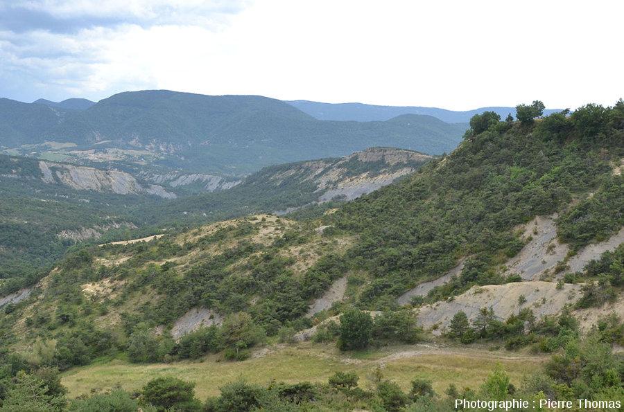 Vue, depuis le point panoramique de La Baume, sur la face Est de la Serre d'Autruy (Hautes Alpes)