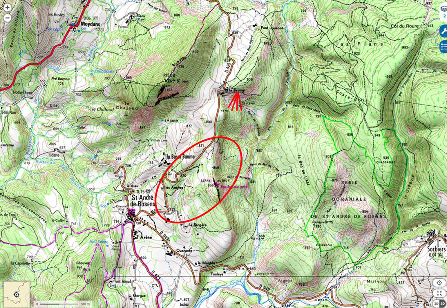 Localisation du secteur riche en boules de grès (ovale rouge) où ont été prises toutes les photos rapprochées