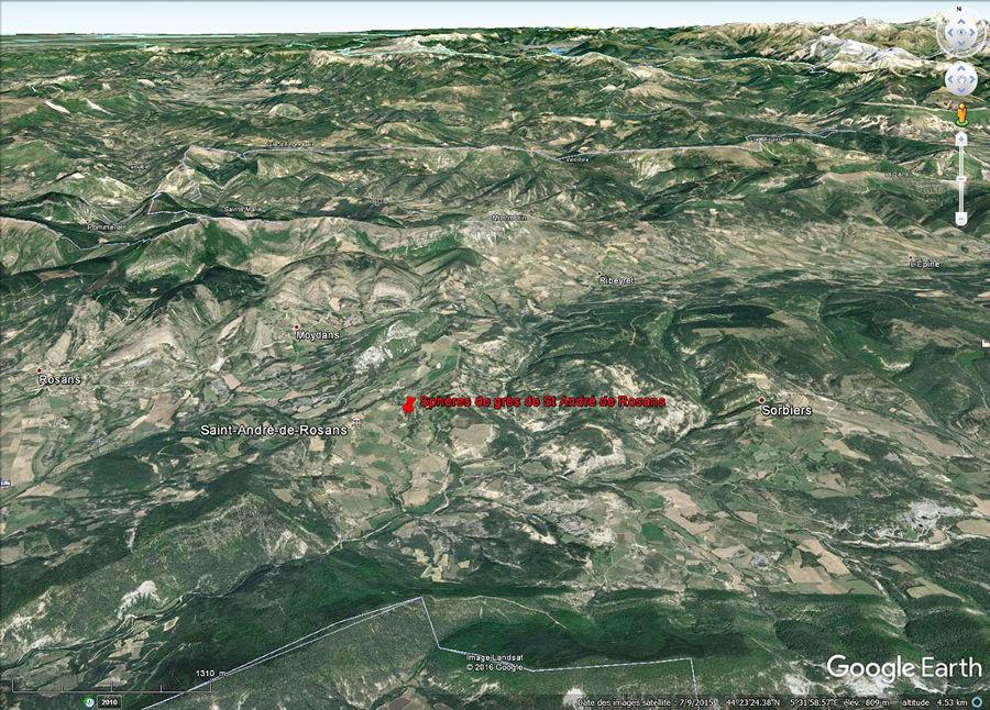 Vue aérienne centrée sur le synclinal de Rosans, synclinal à cœur d'Albien