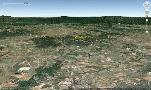 Vue aérienne du secteur des ocres de Roussillon (Vaucluse)