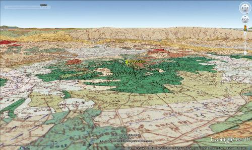 Vue aérienne géologique du secteur des ocres de Roussillon