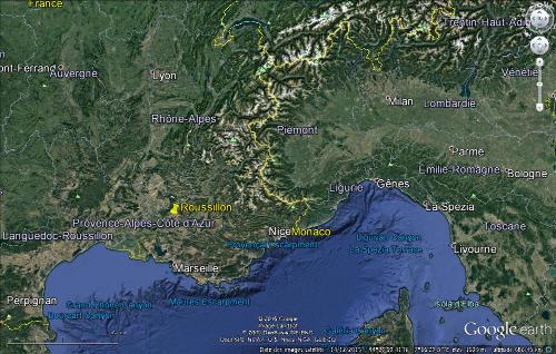 Localisation de Roussillon et de ses ocres dans le Sud-Est de la France
