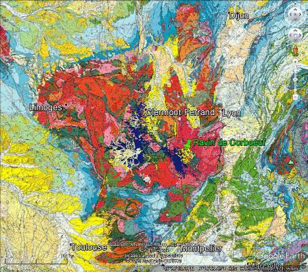 Localisation du ravin de Corbœuf dans le bassin éo-oligocène de l'Emblavès, au Sud-Est du Massif Central