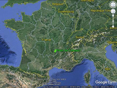 Localisation du ravin de Corbœuf en France